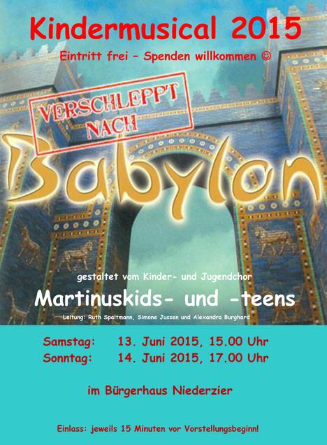 """Neues Musical unseres Kinder- und Jugendchors: """"Verschleppt nach Babylon"""""""