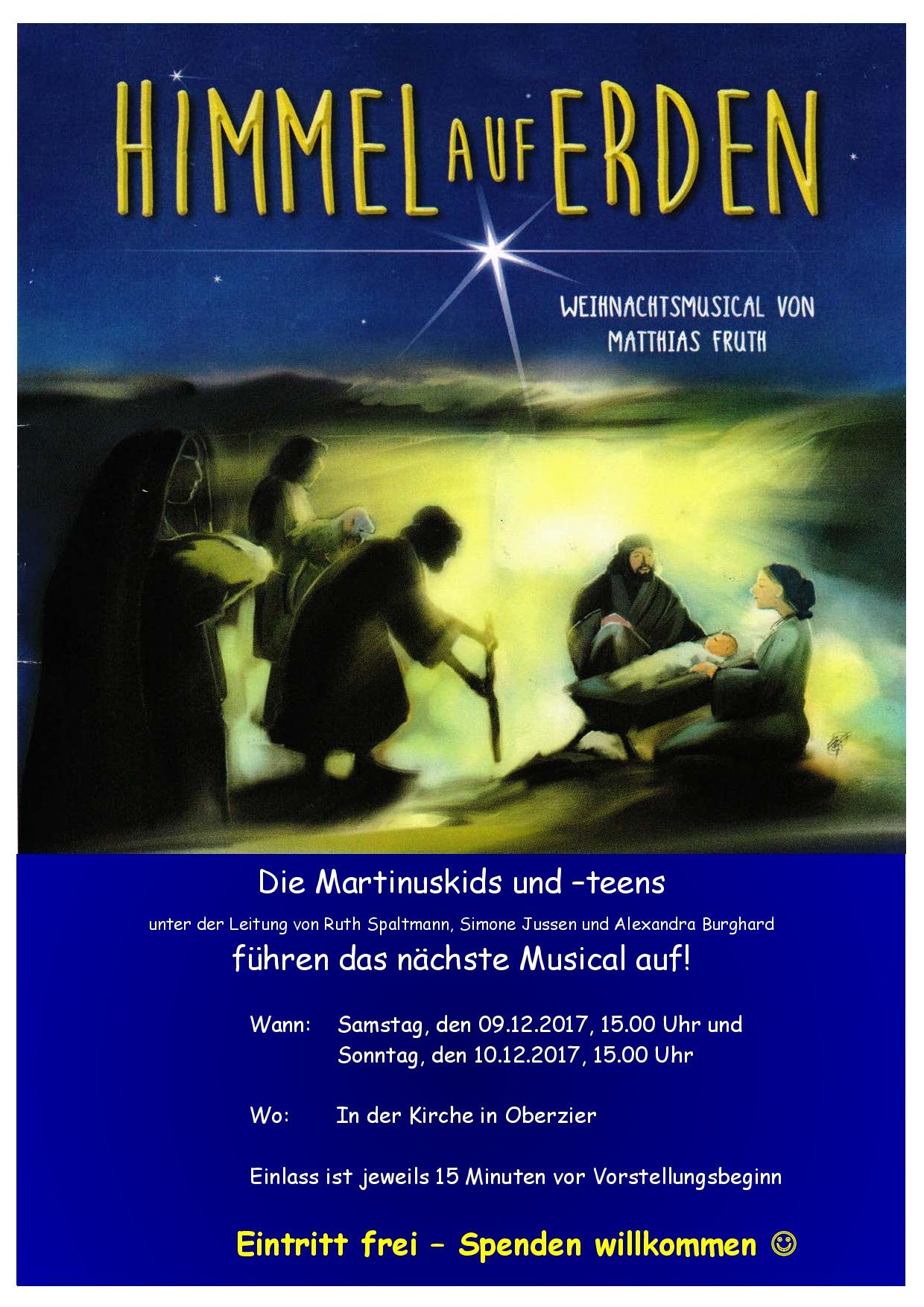 Herzliche Einladung zum Weihnachtsmusical der Martinuskids und -teens