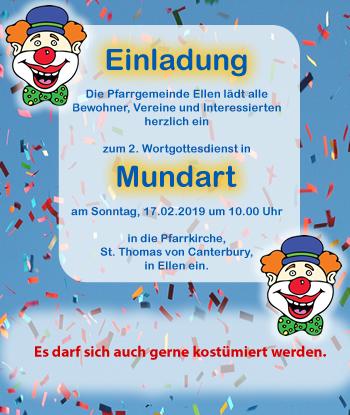 Mundart-Wortgottes- dienst am 17.02.2019